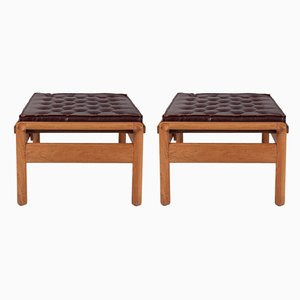 Vintage Leather and Wood Ottomans, Set of 2