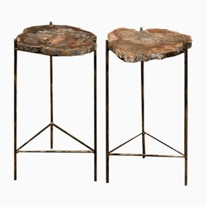 Italian Black Iron and Gold Coffee Tables, 1970s, Set of 2