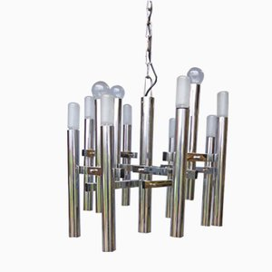 Chromed Ceiling Lamp by Gaetano Sciolari, 1970s