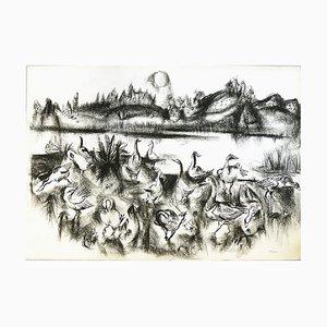 Dessin à la Craie par Paul Kuhfuss, 1950s