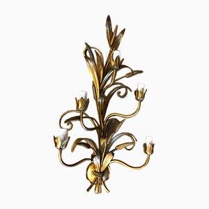 Goldene Vintage Wandleuchte aus Eisen