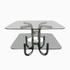 Mid-Century Italian Steel, Smoked Glass, and Marble Coffee Table