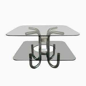 Tavolino da caffè Mid-Century in acciaio, vetro fumé e marmo, Italia