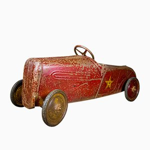 Vintage Industrial French Red Iron Pedal Car, 1920s