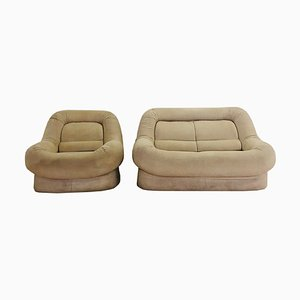 Beige Model 1P Sofa and Armchair, 1970s, Set of 2
