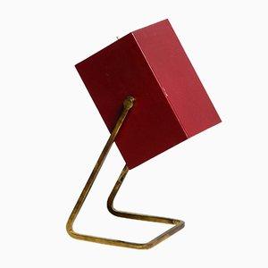 Lámpara de mesa Mid-Century de metal rojo y latón de Kaiser Leuchten, años 60