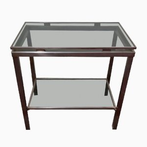 Consola de acero cepillado y vidrio de Guy Lefevre para Maison Jansen, años 70