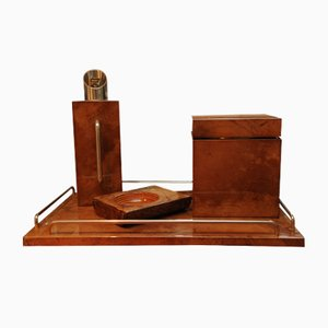 Art Deco Burl Walnut and Chrome Cocktail Set from Aldo Tura, 1920s