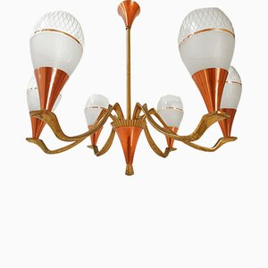 Mid-Century French Copper, Brass and Glass Chandelier, 1950s