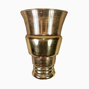 Französische Vase aus Glas & Blattgold, 1940er