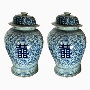 Antique Porcelain Chinese Lidded Wedding Vases, Set of 2