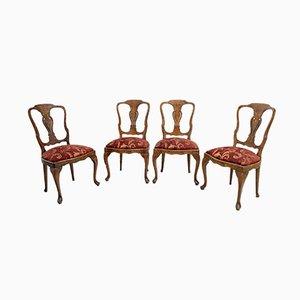 Antike niederländische Esszimmerstühle aus Nussholz & Ahorn mit Intarsien, 4er Set