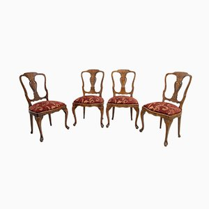 Antique Dutch Walnut and Maple Inlaid Dining Chairs, Set of 4