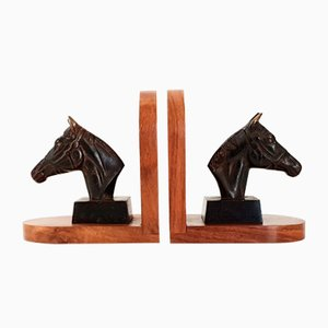 Vintage Wood and Brass Bookends, 1960s, Set of 2