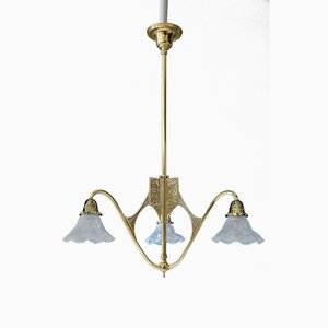 Art Nouveau Opaline Glass Chandelier, 1900s