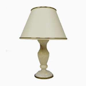 Petite Lampe de Bureau Néoclassique en Marbre Blanc, Italie, 1920s