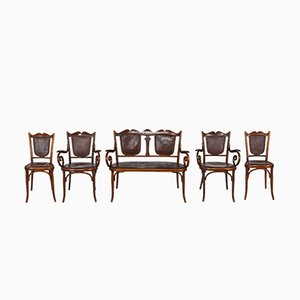 Antique Art Nouveau Bentwood and Leather Living Room Set from Fischel, Set of 5