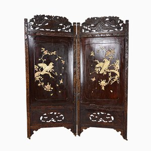Antique Japanese Carved and Inlaid Wood Room Divider, 1890s