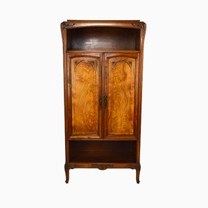 Antique Art Nouveau French Carved Wood Wall Unit, 1900s
