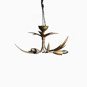 Mid-Century Gilt Palm Leaf Chandelier, 1960s