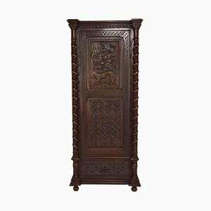 19th Century Gothic Style Carved Walnut Cabinet