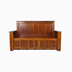 Art Deco French Mahogany Bench by Goyeneche Clément, 1930s