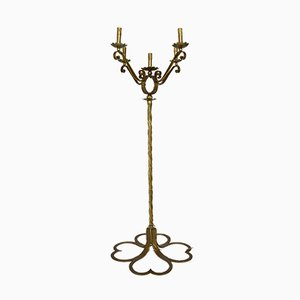 Mid-Century French Gilt Wrought Iron Floor Lamp, 1950s