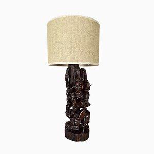 Tischlampe aus geschnitztem Ebenholz, 1950er