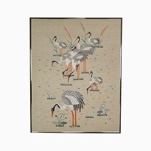 Tapiz Art Déco grande bordado en seda, años 30