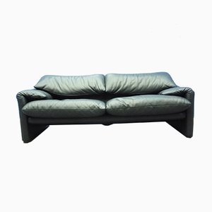Black Maralunga Leather Sofa by Vico Magistretti for Cassina, 1990s