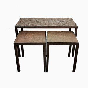 Brutalist Slate Stone Nesting Tables, 1960s