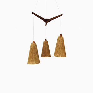 Danish Raffia and Teak Cascade Ceiling Lamp, 1960s