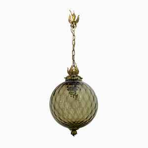 Mid-Century Amber Murano Glass Ceiling Lamp from Seguso, 1940s