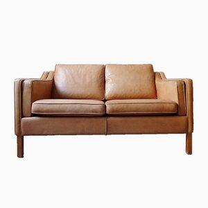 Vintage Danish Tan Leather 2-Seater Sofa