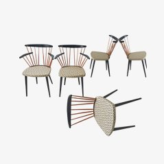 Mid Century Wooden Pin Chairs, 1950s, Set of 5