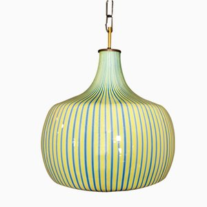 Deckenlampe aus Messing & Muranoglas von Massimo Vignelli für Venini, 1950er