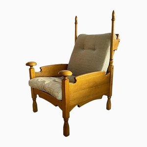 Dutch Oak and Sheep Hide Lounge Chair, 1950s