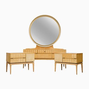 Mirrored Dressing Table and Nightstands, 1950s, Set of 3