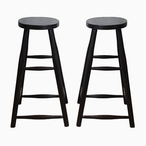 Antique Victorian Industrial Ebonised Oak Stools, Set of 2