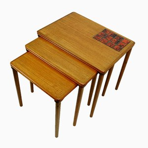 Danish Teak and Ceramic Nesting Tables, 1960s