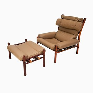 Inca Chair and Footstool Set by Arne Norell for Norell Mobler, 1970s, Set of 2