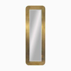 Espejo de latón dorado y cepillado, años 70