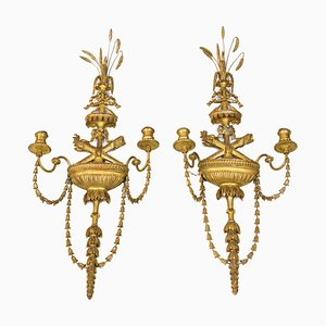Gilt Stucco and Metal Sconces, 1950s, Set of 2
