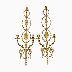 Wandlampen aus vergoldetem Gips & Metall, 1950er, 2er Set