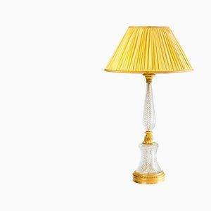 Lámpara de mesa estilo Imperio grande de cristal tallado y bronce dorado, años 40