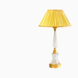 Large Empire Style Cut Crystal and Gilt Bronze Table Lamp, 1940s