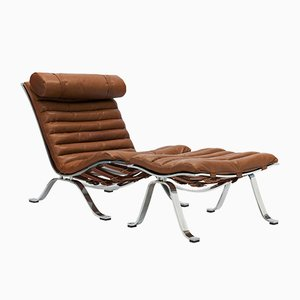 Cognac Brown Leather Ari Lounge Chair and Ottoman Set by Arne Norell for Norell Möbel AB, 1960s