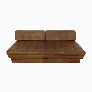 Italian Leather and Teak Daybed, 1960s
