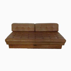 Sofá cama italiano de cuero y teca, años 60