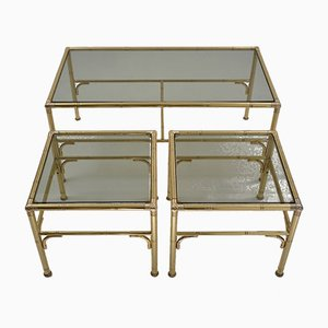 English Gold Coffee Table and Side Tables Set from Chelsom UK Designs, 1980s